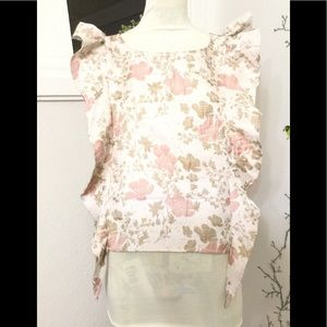 Leith Womens Ruffle Floral Ivory Pink Floral